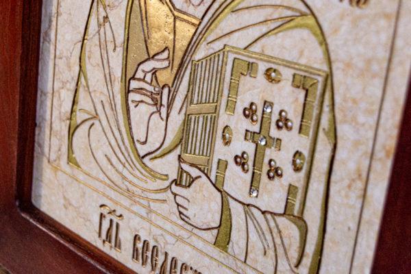 Икона Господа Вседержителя № 3-07 (Пантократор) из камня, Гливи, фото 15