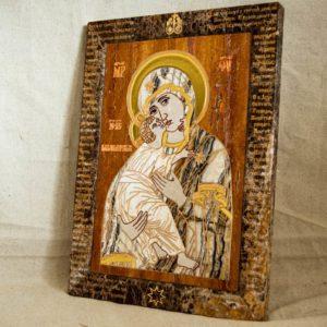 Икона Владимирской Божией Матери № 2-12-10 из мрамора, камня, от Гливи, фото 3
