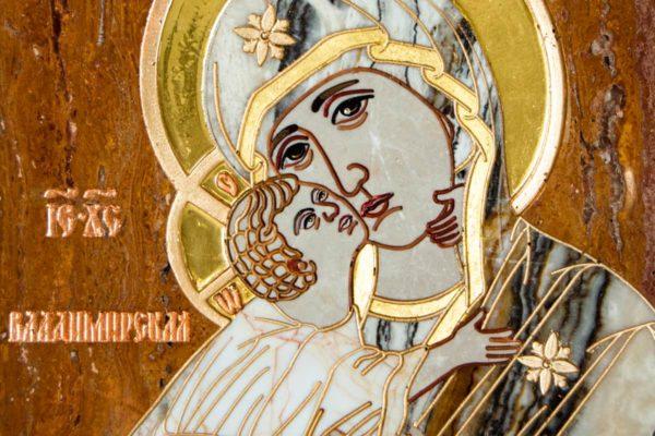 Икона Владимирской Божией Матери № 2-12-10 из мрамора, камня, от Гливи, фото 6