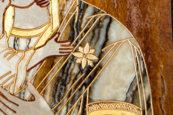 Икона Владимирской Божией Матери № 2-12-10 из мрамора, камня, от Гливи, фото 8