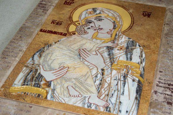 Икона Владимирской Божией Матери № 2-12-9 из мрамора, камня, от Гливи, фото 1