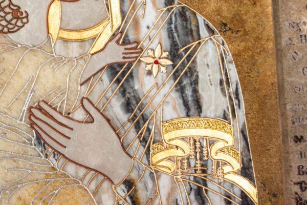 Икона Владимирской Божией Матери № 2-12-9 из мрамора, камня, от Гливи, фото 3