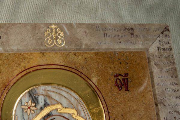 Икона Владимирской Божией Матери № 2-12-9 из мрамора, камня, от Гливи, фото 4