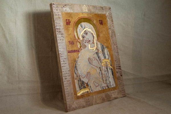 Икона Владимирской Божией Матери № 2-12-9 из мрамора, камня, от Гливи, фото 5