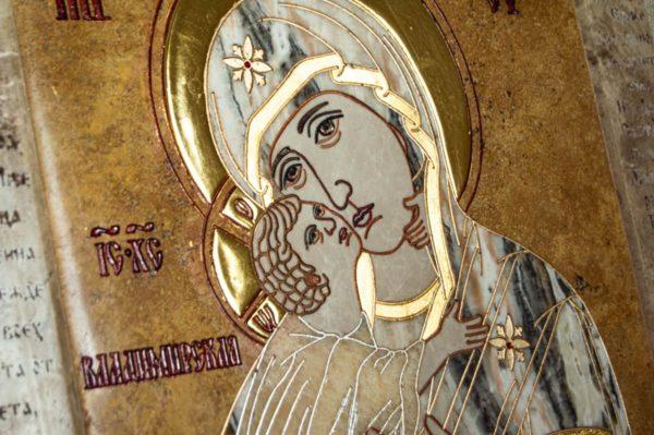 Икона Владимирской Божией Матери № 2-12-9 из мрамора, камня, от Гливи, фото 6