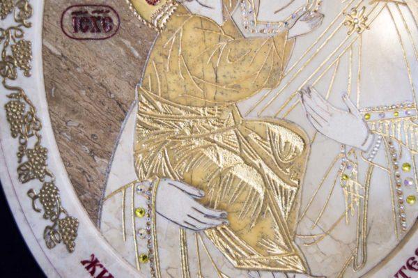 Икона Жировицкой (Жировичской) Божией Матери № п-2 из мрамора, камня, изображение, фото 4