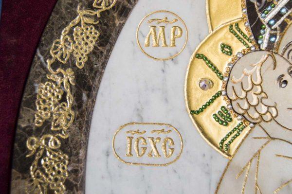 Икона Жировицкой (Жировичской) Божией Матери № п-3 из мрамора, камня, изображение, фото 4