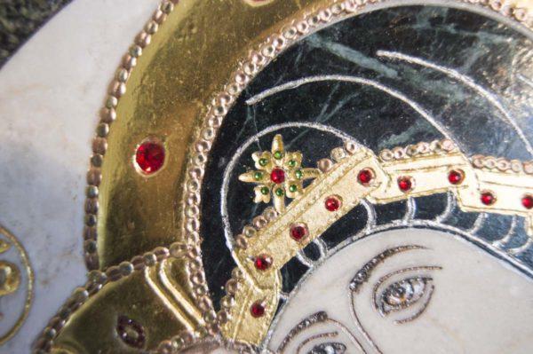 Икона Жировицкой (Жировичской) Божией Матери № п-6 из мрамора, камня, изображение, фото 3