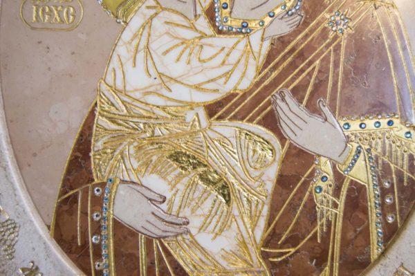 Икона Жировицкой (Жировичской) Божией Матери № п-7 из мрамора, камня, изображение, фото 7