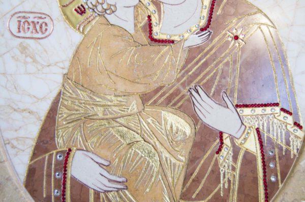 Икона Жировицкой (Жировичской) Божией Матери № п-8 из мрамора, камня, изображение, фото 3