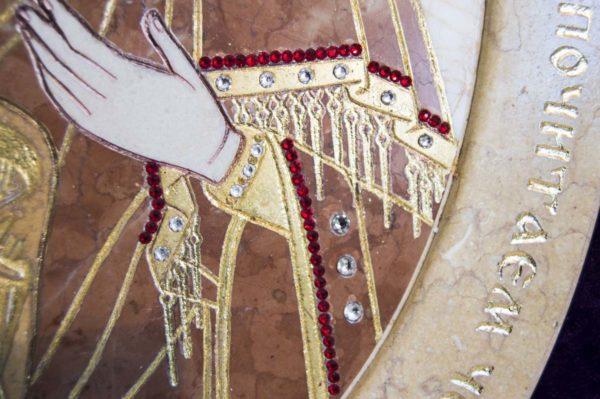 Икона Жировицкой (Жировичской) Божией Матери № п-8 из мрамора, камня, изображение, фото 2