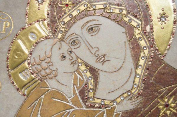Икона Жировицкой (Жировичской) Божией Матери № п-9 из мрамора, камня, изображение, фото 2