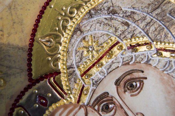 Икона Жировицкой (Жировичской) Божией Матери № п-11 из мрамора, камня, изображение, фото 7