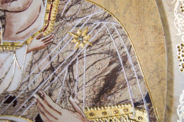 Икона Жировицкой (Жировичской) Божией Матери № п-11 из мрамора, камня, изображение, фото 5