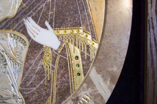 Икона Жировицкой (Жировичской) Божией Матери № п-16 из мрамора, камня, изображение, фото 6