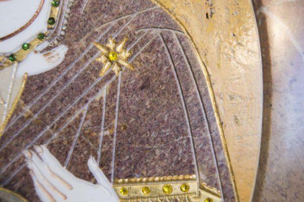 Икона Жировицкой (Жировичской) Божией Матери № п-16 из мрамора, камня, изображение, фото 8