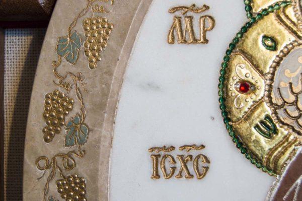 Икона Жировицкой (Жировичской) Божией Матери № п-17 из мрамора, камня, изображение, фото 4