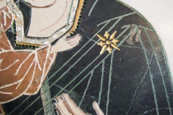 Икона Жировицкой (Жировичской) Божией Матери № п-17 из мрамора, камня, изображение, фото 1
