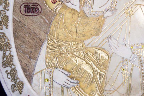 Икона Жировицкой (Жировичской) Божией Матери № п-2 из мрамора, камня, изображение, фото 1