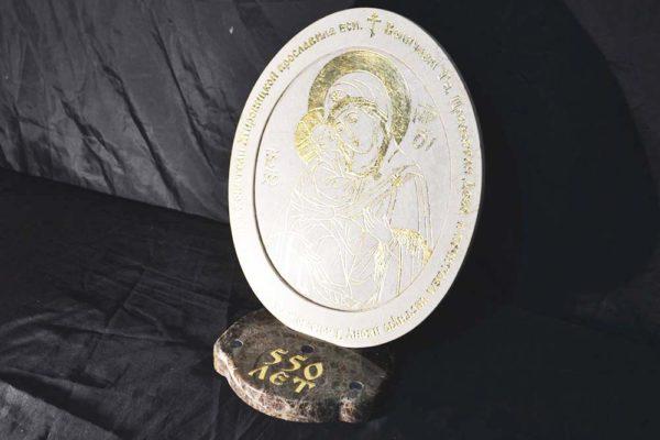 Икона Жировицкой (Жировичской) Божией Матери № 02 из мрамора, камня, изображение, фото 1
