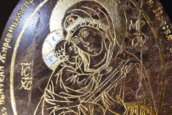 Икона Жировицкой (Жировичской) Божией Матери № 002 из мрамора, камня, изображение, фото 3