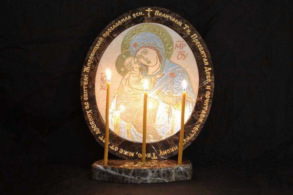 Икона Жировицкой (Жировичской) Божией Матери № 09 из мрамора, камня, изображение, фото 1