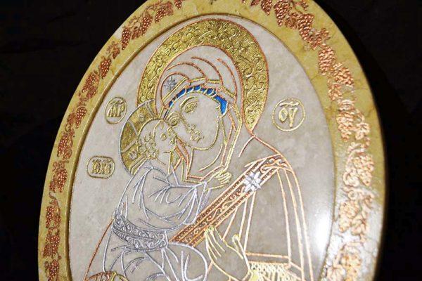 Икона Жировицкой (Жировичской) Божией Матери № 11 из мрамора, камня, изображение, фото 1