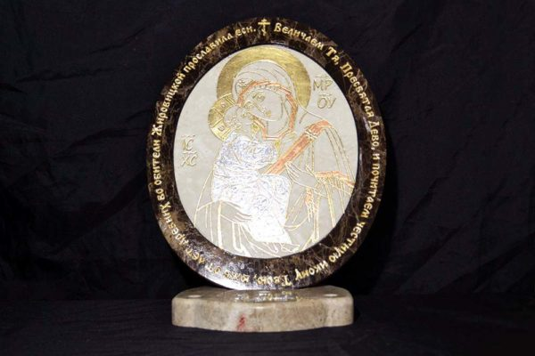 Икона Жировицкой (Жировичской) Божией Матери № 11 из мрамора, камня, изображение, фото 5