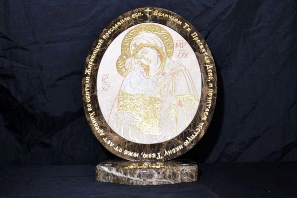 Икона Жировицкой (Жировичской) Божией Матери № 14 из мрамора, камня, изображение, фото 2