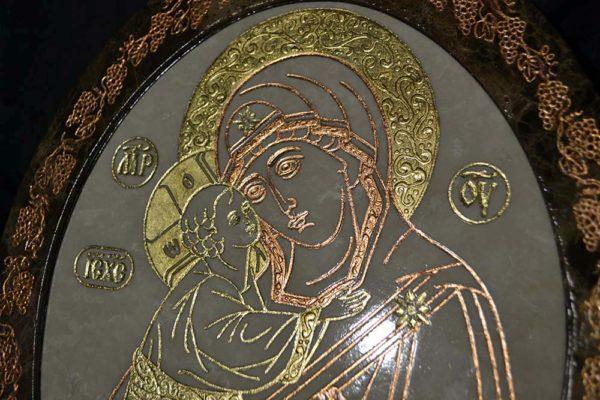 Икона Жировицкой (Жировичской) Божией Матери № 17 из мрамора, камня, изображение, фото 1