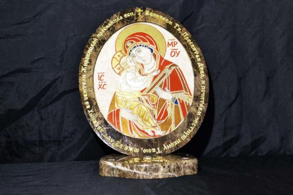 Икона Жировицкой (Жировичской) Божией Матери № 18 из мрамора, камня, изображение, фото 3