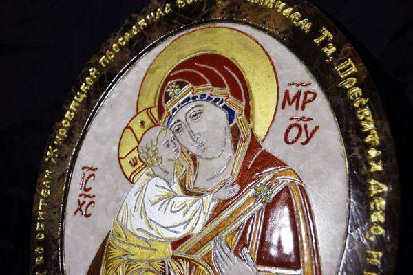 Икона Жировицкой (Жировичской) Божией Матери № 18 из мрамора, камня, изображение, фото 4
