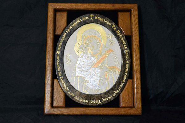 Икона Жировицкой (Жировичской) Божией Матери № 19 из мрамора, камня, изображение, фото 4