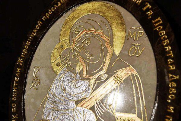 Икона Жировицкой (Жировичской) Божией Матери № 19 из мрамора, камня, изображение, фото 1