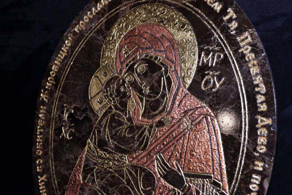 Икона Жировицкой (Жировичской) Божией Матери № 005 из мрамора, камня, изображение, фото 1