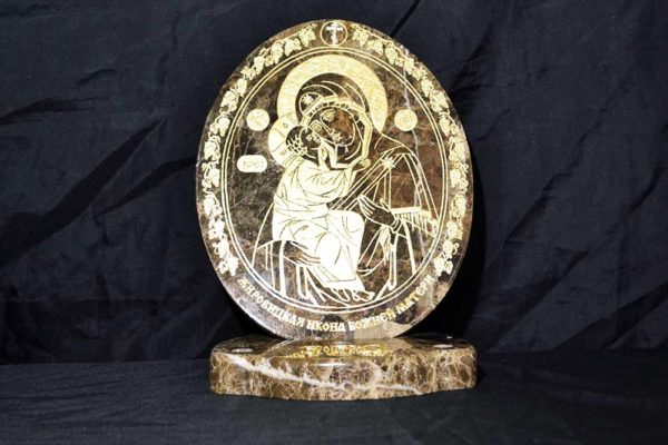 Икона Жировицкой (Жировичской) Божией Матери № 006 из мрамора, камня, изображение, фото 1