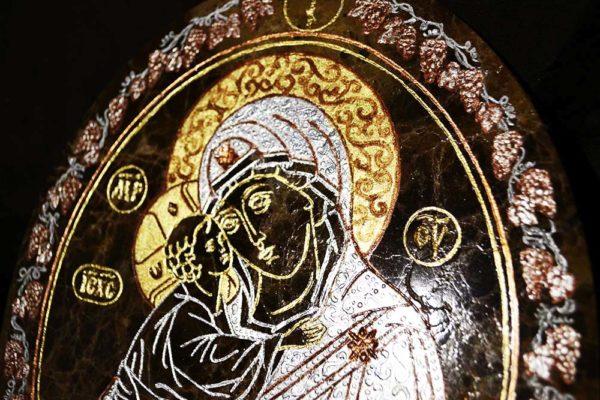 Икона Жировицкой (Жировичской) Божией Матери № 007 из мрамора, камня, изображение, фото 2