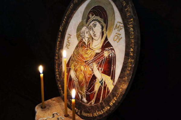 Икона Жировицкой (Жировичской) Божией Матери № 22 из мрамора, камня, изображение, фото 3