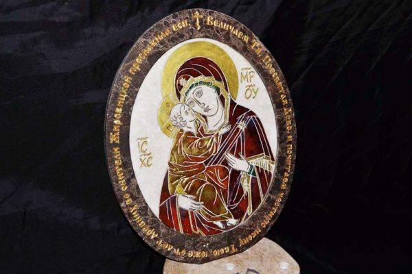 Икона Жировицкой (Жировичской) Божией Матери № 22 из мрамора, камня, изображение, фото 1