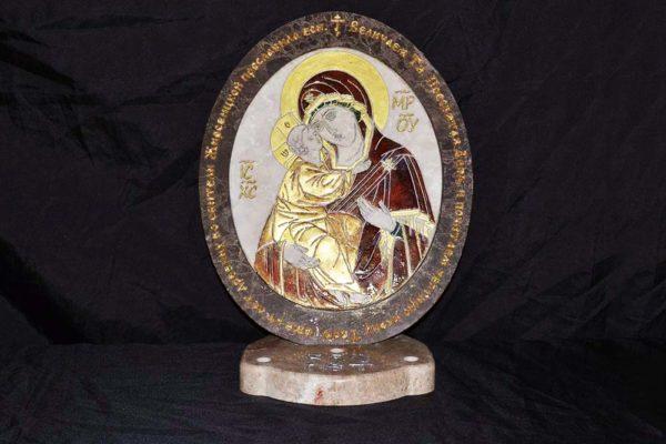 Икона Жировицкой (Жировичской) Божией Матери № 22 из мрамора, камня, изображение, фото 4