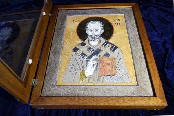 Икона Николая Чудотворца (Угодника) инд.№ 01 из мрамора, камня, изображение, фото 2