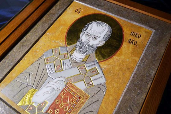 Икона Николая Чудотворца (Угодника) инд.№ 01 из мрамора, камня, изображение, фото 5