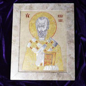 Икона Николая Чудотворца (Угодника) инд.№ 02 из мрамора, камня, изображение, фото 6