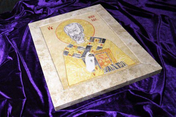 Икона Николая Чудотворца (Угодника) инд.№ 02 из мрамора, камня, изображение, фото 1