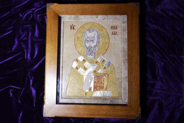 Икона Николая Чудотворца (Угодника) инд.№ 02 из мрамора, камня, изображение, фото 4