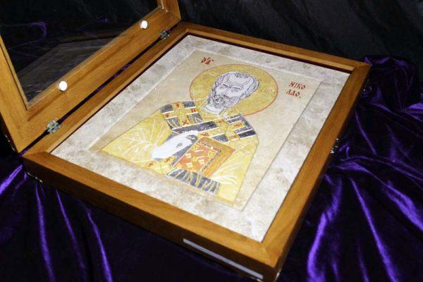 Икона Николая Чудотворца (Угодника) инд.№ 02 из мрамора, камня, изображение, фото 8