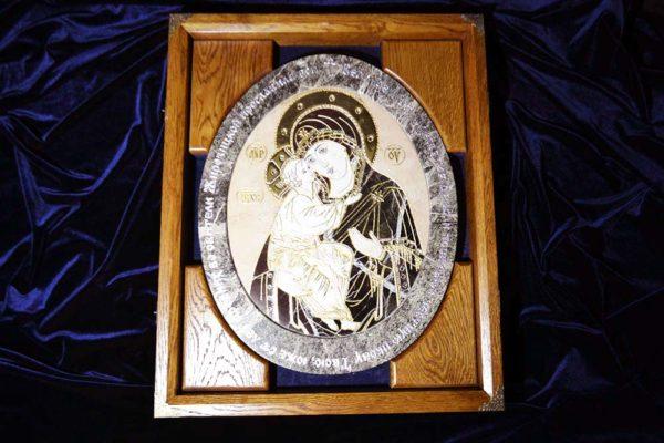 Икона Жировицкой Божией Матери № п-1 из мрамора, камня, изображение, фото 1