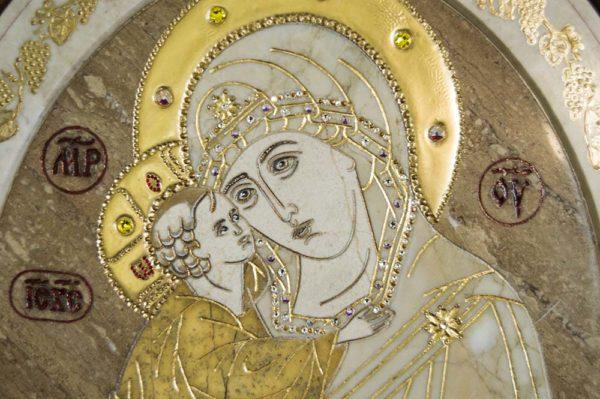 Икона Жировицкой (Жировичской) Божией Матери № п-2 из мрамора, камня, изображение, фото 3