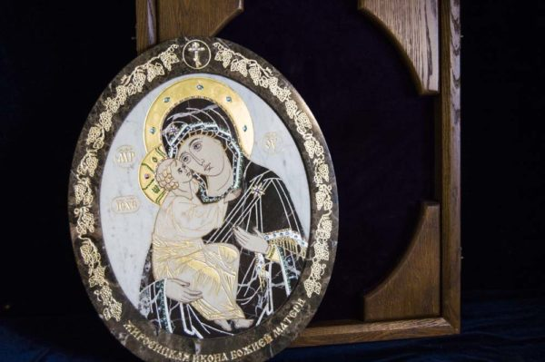 Икона Жировицкой (Жировичской) Божией Матери № п-3 из мрамора, камня, изображение, фото 6