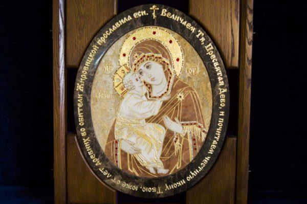 Икона Жировицкой (Жировичской) Божией Матери № п-4 из мрамора, камня, изображение, фото 4